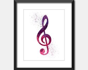 Musical Art Treble Clef Watercolor Print, Music Decor Printable Art, Music Poster Instant Digital Download Watercolor Splatter