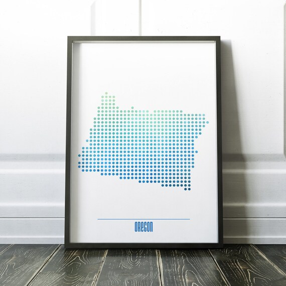 Oregon State Map Print Watercolor State Maps Oregon Map - Print us state map