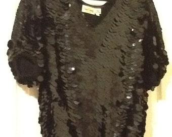 Large sequin black shirt