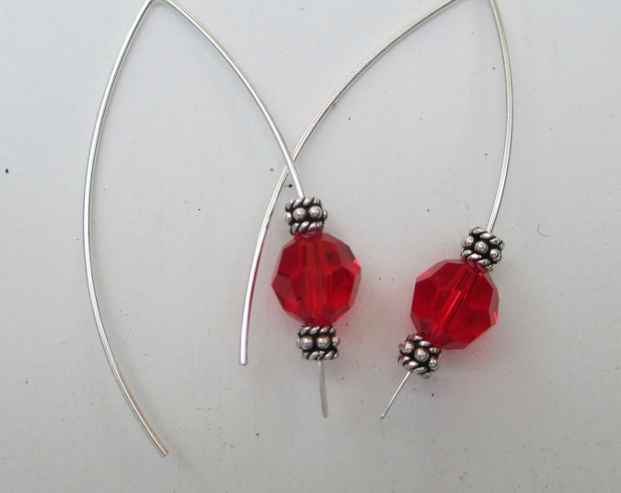Sterling silver earrings with red Swarovski crystal