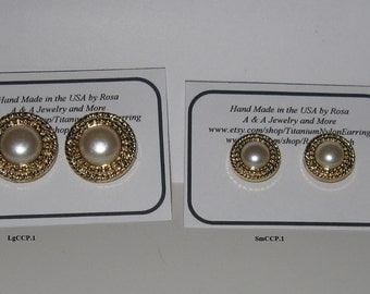 CLEARANCE SALE-Hypoallergenic Stud/Post,Beautiful Button Earrings in Gold Tone with Faux Pearl, Titanium posts or Nylon Posts