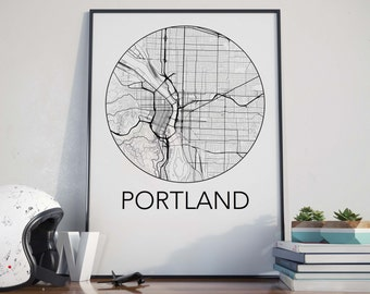 Portland, Oregon Minimalist City Map Print