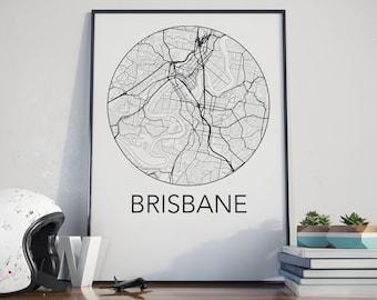 Brisbane, Australia Minimalist City Map Print