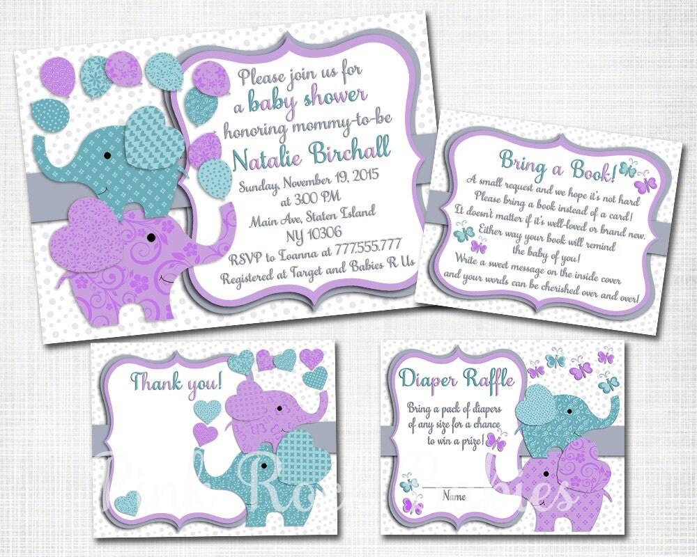 purple teal elephant baby shower printable invitation set baby