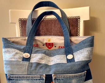 Custom recycled denium bag lined with souvenir  T-shirts from Ireland.