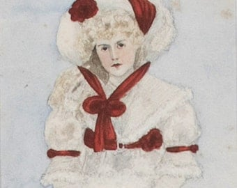 "Vintage Watercolour ""Girl in White and Red"""
