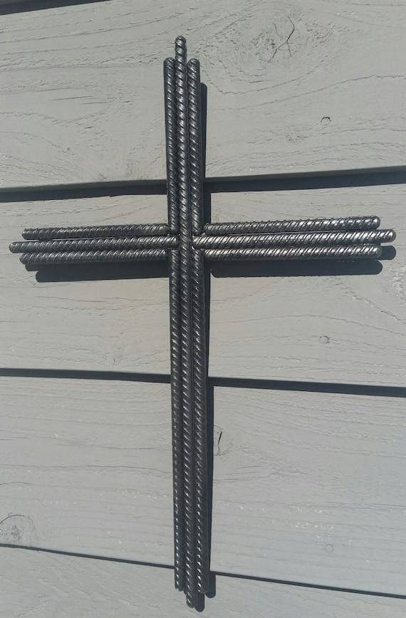 Rebar Cross Jesus Welded Steel Crucifix Religious Rustic