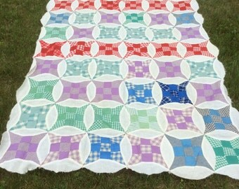 Sweet Vintage / Antique Quilt Top with Gingham and Checks