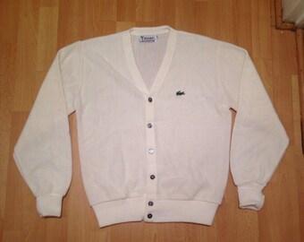 Medium. Vintage Izod Lacoste Cardigan. cream colored. Vintage yuppie attire.