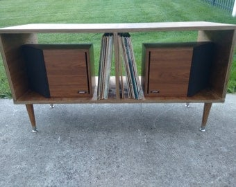 Spring SALE!!!!!  Mid century modern Media console record storage