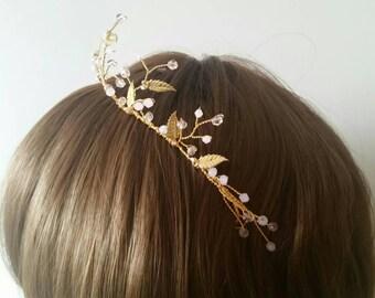 Gold hair vine blush pink gold leaf tiara bridal or bridesmaid hairpiece