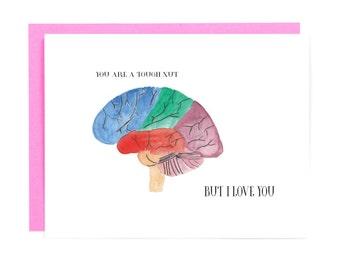 Human Brain Anatomy Card - Brain Art - Gift for Medical Student - Medical Love Card  - Anatomy Anniversary Card - Nurse Gift