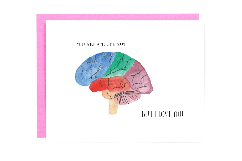 The human brain coloring book diamond - Human Brain Anatomy Card Brain Art Gift For Medical Student Medical Love Card