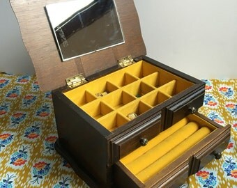 Vintage wooden jewelry box with drawer and mirror