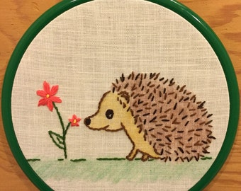 Small Hedgehog and Flower Embroidery Hoop