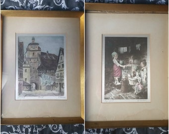 Pair of Framed Signed H Leisch Etchings on Silk early 20th c. Austrian Vintage