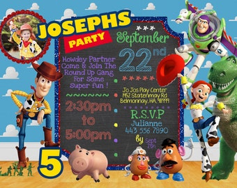 PERSONALIZED Woody, Buzz, Toy Story Themed Invitation  - Instant Digital Download, Birthday Party Supplies