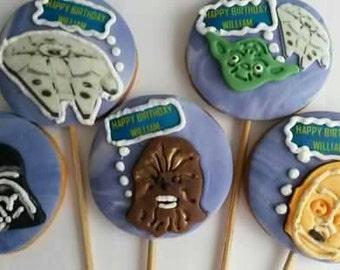 Star wars cookies on the sticks. 6 Sugar cookies