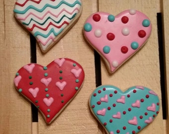 Chevron and Polka Dot Hearts - One Dozen