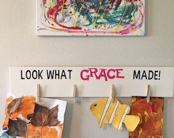 Childs art display, hand painted wood sign