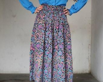 RETRO 90s Adini London Graphic Long Cotton/Viscose Mix Skirt (with pockets) Medium