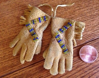 Vintage Miniature Native American Leather Gloves with Fringe and Beadwork