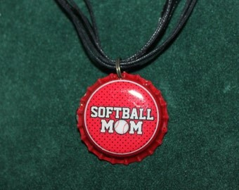 Softball Mom Bottle Cap Necklace 122