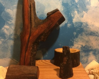 Docking station for any cell phone.  Handmade with driftwood and reclaimed wood.
