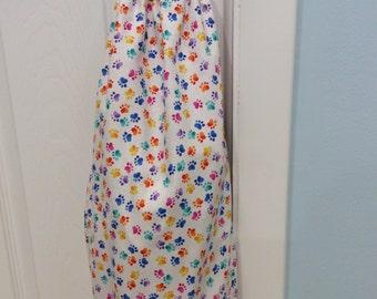 Plastic bag holder-Paw Print decor-Dog decor-Cat decor-Cotton fabric-Pet Decor-recycle storage