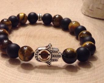Stackable Tiger's Eye & Onyx Gemstone Bracelet with Hamsa Charm