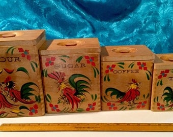 Vintage Rooster Canisters Natural Wood with Sassy Hand painted Roosters