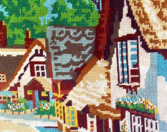 Needlepoint Completed 11 x 15 Country Cottage, Penelope, Wm Briggs, English Countryside Town, Shabby Chic