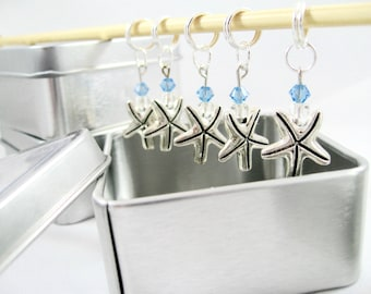 Starfish Stitch Markers featuring Swarovski Crystals - Free Shipping!