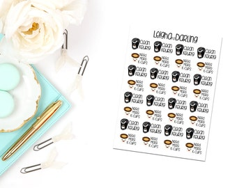 Kawaii Coffee/Keurig/K-Cup/Coffee Maker Planner Stickers