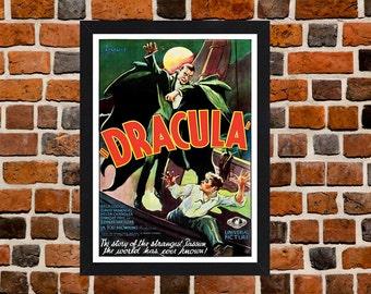 Framed Dracula Bela Lugosi Horror Movie Film Poster A3 Size Mounted In Black Or White Frame