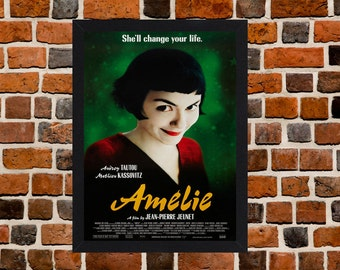 Framed Amelie Audrey Tautou Movie / Film Poster A3 Size Mounted In Black Or White Frame