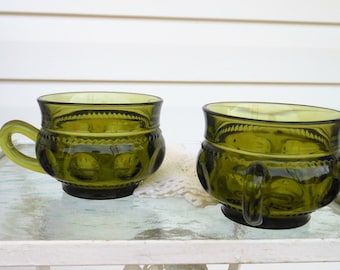 Two Tiffin Green Kings Crown, Green Thumbprint Coffee Mugs, Indiana Glass Company, Thumbprint Tea Cups, Pair Avocado Green Tiffin Mugs