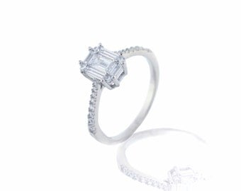 925 Sterilng Silver Solitaire Ring with Accents 1.30 CT.TW (S103)
