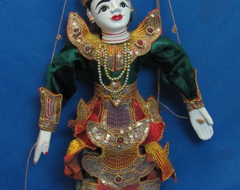 HINDU MARIONETTE-Folk Art-Painted Wood With Velvet And Sequined Clothing