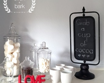 Home Decor - Metal 2-Sided Chalkboard on Stand - Indoor Decor - Table Decor - Chalkboard on Stand