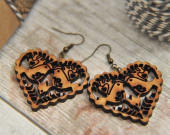 Wooden Love Birds  Drop Earrings