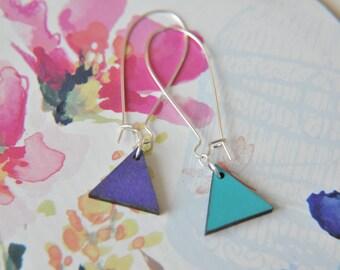 Geometric Purple and Aqua Reversible  Pendent Earrings