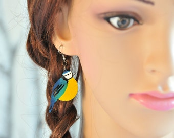 Handpainted Blue Bird lasercut Earrings