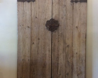 Antique Elm Timber Chinese Doors Original Latch c.1800