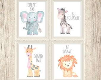 Safari Nursery Art Animal Paintings Baby Animal Prints Animal Watercolor Childrens Wall Decor Kids Room Elephant Giraffe Zebra Lion Set of 4