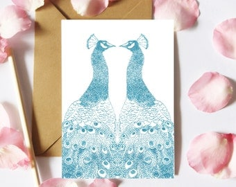 Peacock Card, Peacock Birthday Card, Notecard, Bird Notelet, Card For Her, Anniversary Card, Thank You Card, Sister Card, Peacock Lover Card