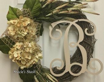 Monogram Wreath, Front Door Wreath, Rustic Wreath, Personalized Wreath, Natural Wreath, Grapevine Wreath, Initial Wreath