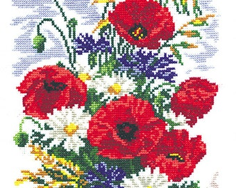 Cross Stitch Kit Daisies and Poppies