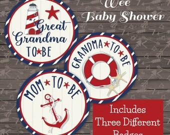 Nautical mom and grandma badges