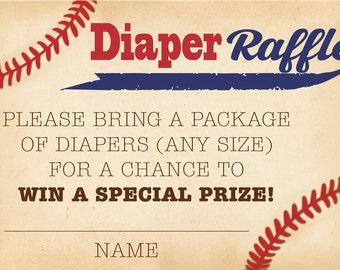 Baseball Diaper Raffle Card